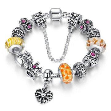 Tibetan Queen Crown Chain Crystal Rhinestone Glass Beads Bracelet