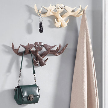 Love vendimia Deer Antler Wall Percha Decoración Escudo Gancho Y Sombrero Rack 4 Color Holder