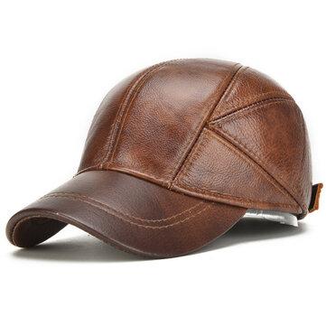 Collrown Mens Winter Warm Genuine Leather Baseball Cap Earflap Ear Muffs Windproof Outdoor Trucker Hats