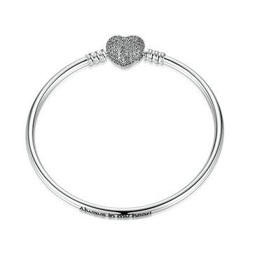 Elegant 925 Silver Zircon Heart Shaped Buckle Bracelet Bangle For Women