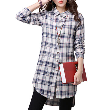 Botón elegante de las mujeres a cuadros de algodón de lino asimétrica de la blusa