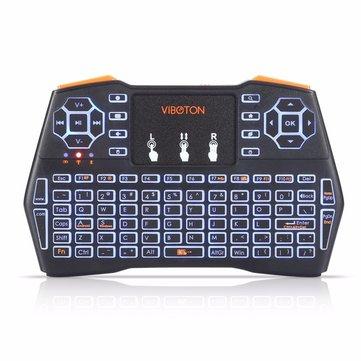 Viboton I8 Plus 2.4G Wireless Three Color Backlit English Mini Keyboard Touchpad Airmouse for TV Box Smart TV PC