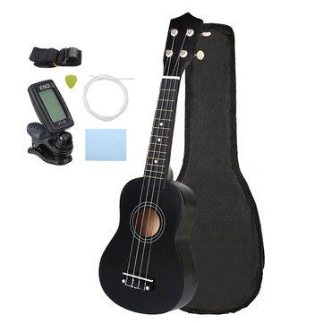 21 Inch Economic Soprano Ukulele Uke Musical Instrument With Gig bag Strings Tuner Black