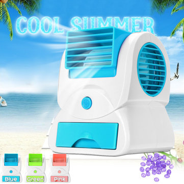 Mini USB Fan Cooling Portable Desktop Dual Bladeless Air Conditioner Small Fan