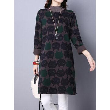 बिल्ली प्रिंटिंग Turtleneck लंबी आस्तीन लूज मोटी महिला sweatshirt पोशाक