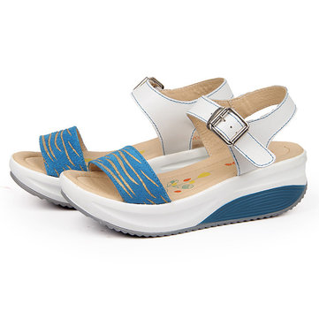 Women Wedge Sandals Casual Genuine Leather Beach Slip On Shoes