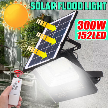 300W Solar Powered LED Street Wall Flood Lamp Garden Spotlight with 5M Extension Wire + Remote Control