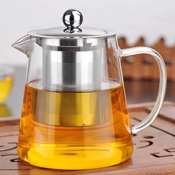 750 / 950ml Klar Varmebestandig Glas Te Pot Rustfrit Stål Infuser Filter