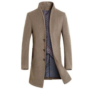 INCERUN Stylish Slim Fit Mid Long Overcoat Winter Outwear Jacket for Men