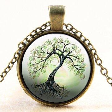 Cabujón de cristal de árbol Collar de cadena de bronce Colgante