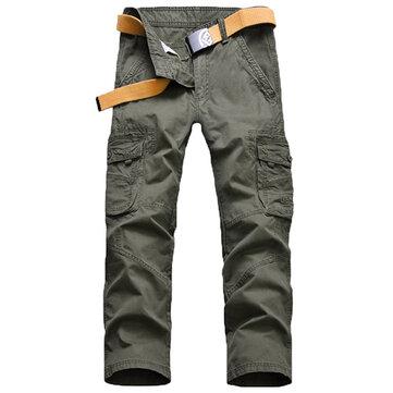 लूज कार्गो पैंट पुरुषों आउटडोर आरामदायक कपास मल्टी बिग पॉकेट पतलून