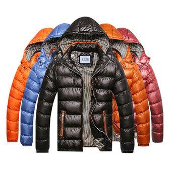 पुरुषों शीतकालीन मोटी गर्म निविड़ अंधकार विंडप्रूफ हुड हटाने योग्य जैकेट फैशन जिपर कोट