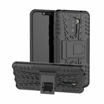 Bakeey™ Shockproof Silicone Back Cover Protective Case with Stand for Xiaomi Pocophone F1