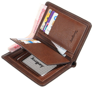Men PU Leather Vintage Business Wallet 15 Card Slots Coin Bag Card Holder Purse