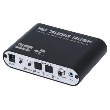 Digital to Analog AC3 Optical to Stereo Surround HD 5.1 Audio Decoder 2 SPDIF Ports HD Audio Rush