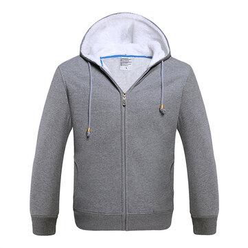 पुरुषों शीतकालीन फ्लीस लाइनिंग ज़िप्पीड हुडेड स्वेटरशर्ट गर्म आरामदायक हूडीज 8 रंग