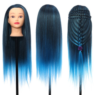 26'' Colorful Hair Hairdressing Practice Training Head Mannequin Salon With Clamp