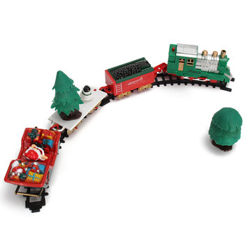 Christmas Musical Light Tracks Train Set 20 Piece With Trees Carriages Kids Toy
