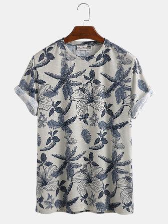Men Floral Print Crew Neck Short Sleeve Casual T-Shirts