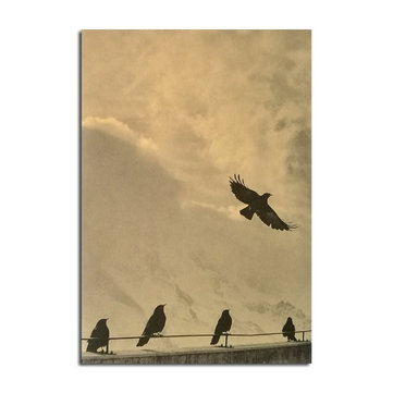 Flying Bird Poster Kraft Paper Wall Poster DIY Wall Art 21 inch X 14 inch