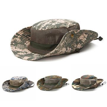 Men Camouflage Mesh Breathable Visor Bucket Hats Outdoor Fishing Climbing Sunshade Visor Cap