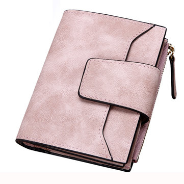 Women Matte Hasp Short Wallets Girls Two Fold Purse Card Holder Coin Bags