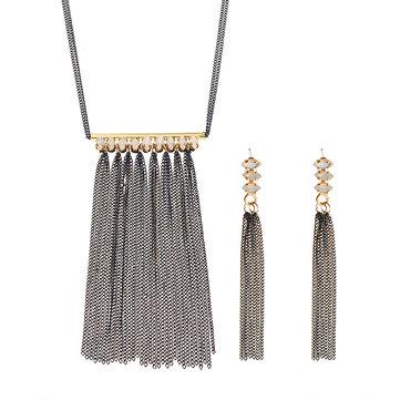 JASSY® 18K oro plateado joyas de cristal conjunto de puntilla borla Colgante collar Pendientes para Mujer regalo
