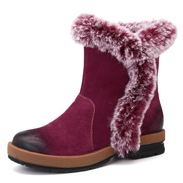 SOCOFY חורף שלג המגפיים חם בטנה Fluffy עור אמיתי מגפיים