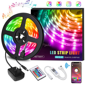 SOLMORE Light Strips Music RGB light strips Smart Phone App Controlled Ehome Light with Overcurrent Protection 20-Key Remote Control