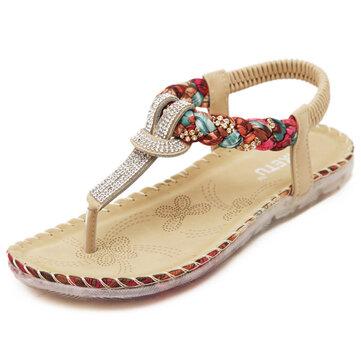 US Tamaño 5-10 Mujeres Verano Zapato Bohemian de Playa Plana Suave Cómodo Casual Moda Sandalia