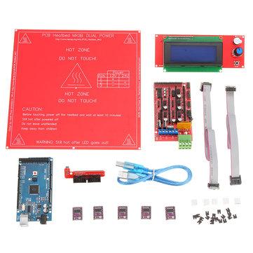 3D Printer Kit RAMPS 1.4+Arduino Mega 2560 +DRV8825 Stepper Motor+2004 LCD+PCB Heat Bed MK2B