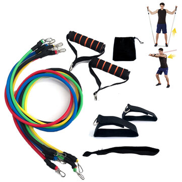 11pcs/set Exercise Home Resistance Bands Strength Training Stretching Sport Fitness Pull Rope Yoga Flexbands