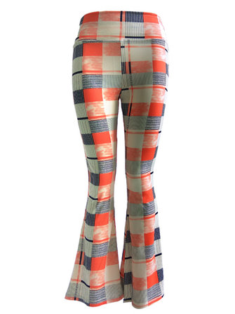 आरामदायक मल्टी-रंग मुद्रित खिंचाव कमर महिला फ्लेयर पैंट