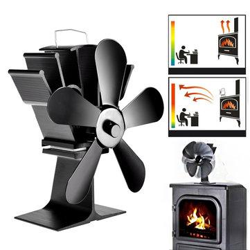 $29.99 for PRee� 8.8inch 5 Blades Fireplace Fan Wood Burner Stove Thermal Heat Power Fan