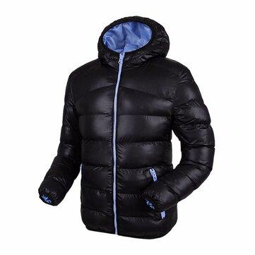 पुरुषों शीतकालीन प्लस मोटी हुडेड विंडप्रूफ गर्म फैशन कंट्रास्ट रंग अस्तर गद्देदार जैकेट