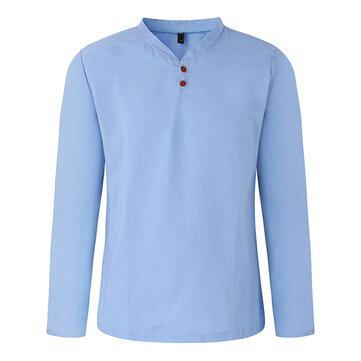 पुरुषों वसंत आरामदायक लिनन वी गर्दन कॉलर लंबी आस्तीन टी शर्ट फैशन ठोस रंग शीर्ष