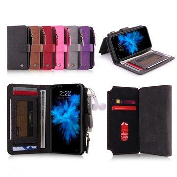 POLA magnetisk avtakbar lommebok-kortsporveske til iPhone X/8/8 Plus/7/7 Plus / 6s / 6s Plus/6/6 Plus