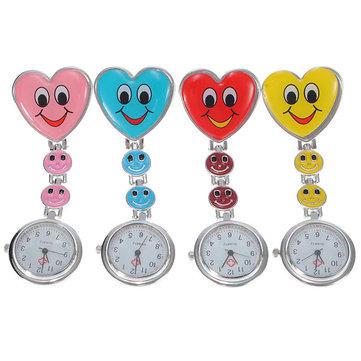 Cartoon Heart Smile Face Nurse Watch Clip On Fob Brooch Hanging Pocket Watch
