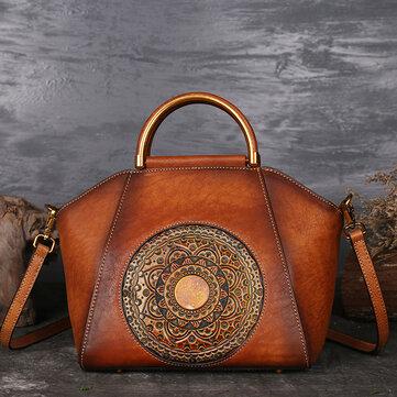 Women Genuine Leather Vintage Totem Designer Handbag Shoulder Bag
