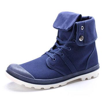 Nuevos hombres de la manera zapatos de lona superiores ocasionales al aire libre con cordones zapatillas deportivas