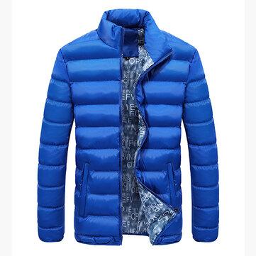 पुरुषों मोटी शीतकालीन स्टैंड कॉलर कोट गद्दीदार ठोस रंग बड़ा आकार फैशन आरामदायक जैकेट