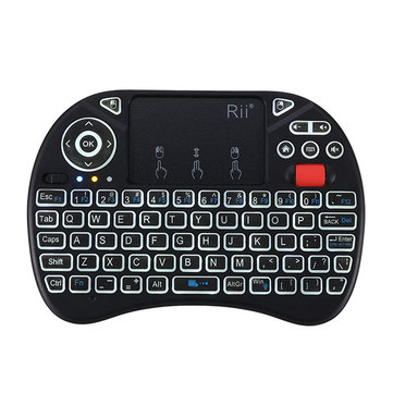 RII I8X 2.4G Wireless White Backlit Mini Keyboard Touchpad Airmouse with Scroll Wheel