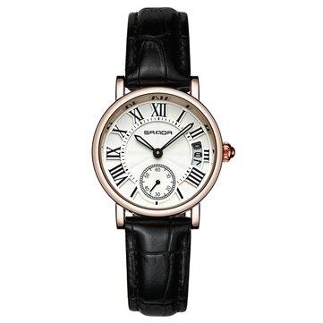 SANDA P206 עור נשים אופנה סגנון ליידי השמלה קוורץ שעונים