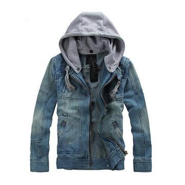 Erkekler için Ayrılabilir Hood Moda Casual Fermuar Denim Ceketler