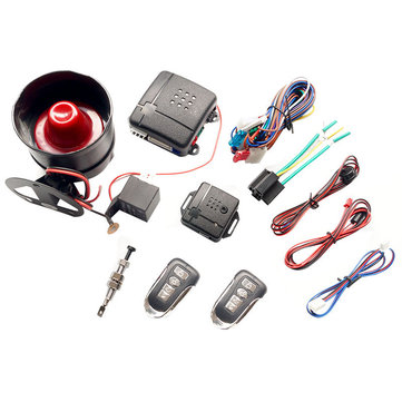 Universal Central Locking Kit & Car Alarm System with Immobiliser Shock Sensor