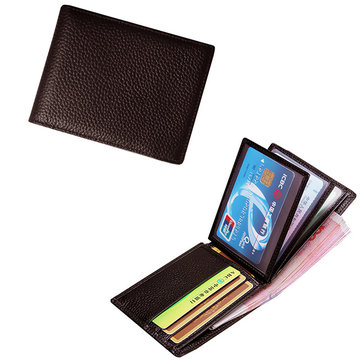Men Genuine Leather Horizontal Multi-functional Wallet