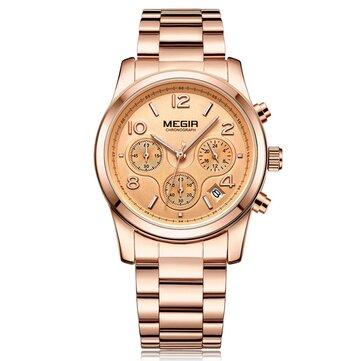 MEGIR 2057 Women Watch Luxury Mode Chronograph Ladies Kuarsa Jam Tangan