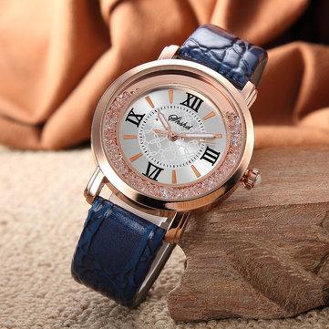 Fashion Wanita Perhiasan Ladies Berlian Imitasi Kulit Analog Quartz Watch