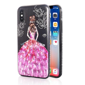 Bakeey Beskyttelsesveske til 3D Paint for iPhone X/8/8 Plus/7/7 Plus / 6s Plus/6 Plus / 6s / 6 Pink Dress Glitter Bling