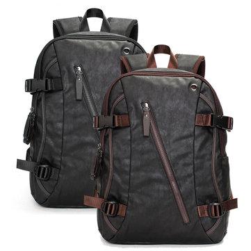 Đàn ông Vintage PU Leather Zipper Laptop Travel School Ngoài trời Ba lô Túi ba lô
